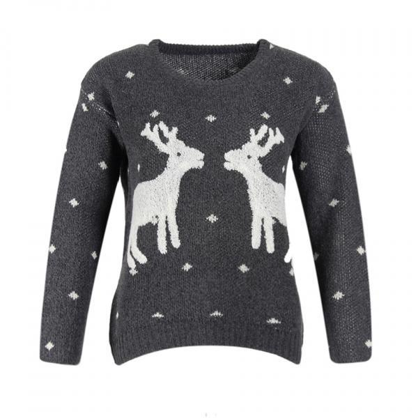Cute Deers Round Neck Long Sleeve Sweater - Grey