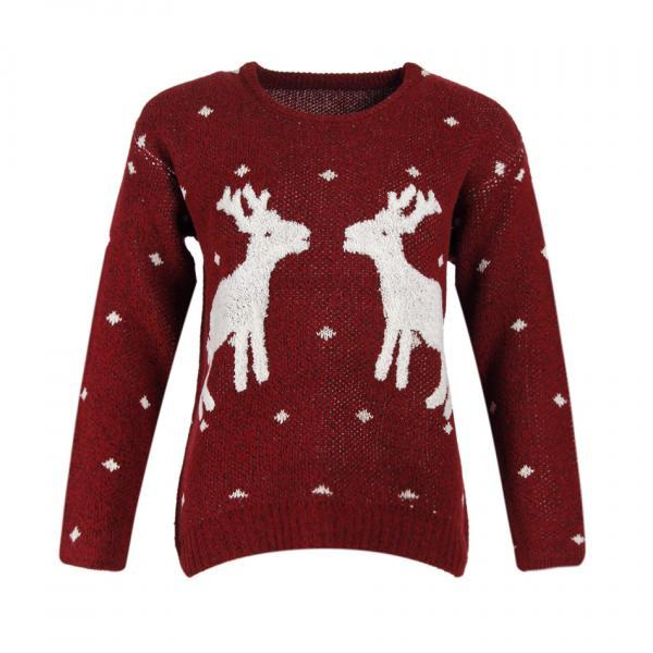 Cute Deers Round Neck Long Sleeve Sweater - Wine Red