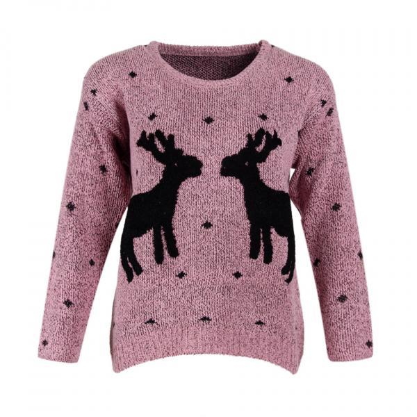 Cute Deers Round Neck Long Sleeve Sweater - Pink