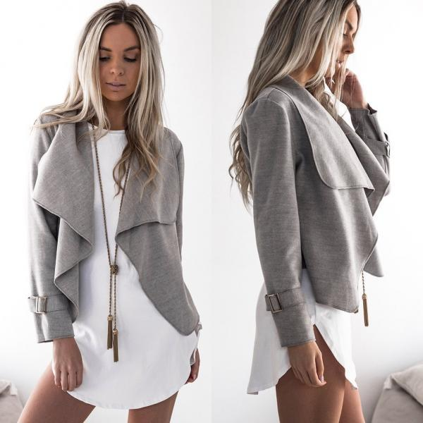 Fashion New Turndown Collar Irregular Coats For Women - Grey