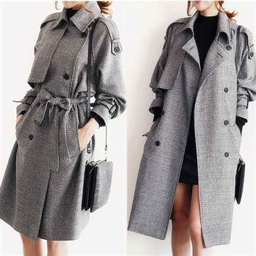 High Quality British Style Grid Double-breasted Coat