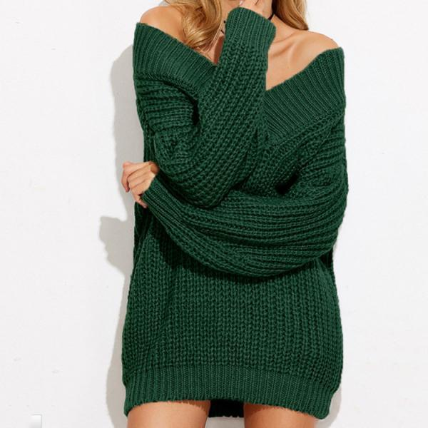 Forest Green Knitted Off-The-Shoulder Plunge V Long Cuffed Sleeves Sweater