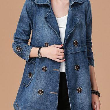 New Notch Collar Button Embellished Long Sleeve Denim Coat