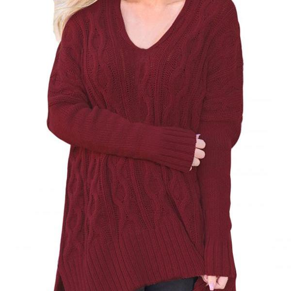 New Design Fashion V Neck High Low Pullover Sweater For Women AM114 - Wine Red