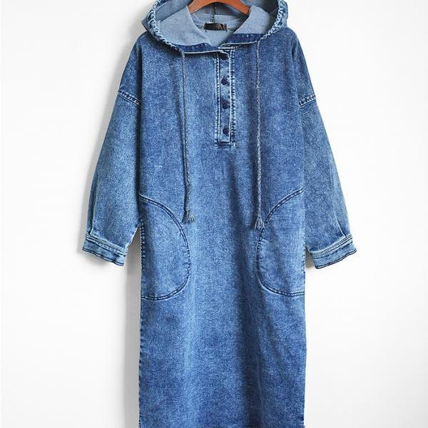 New Design Hooded Jeans Dress - Blue