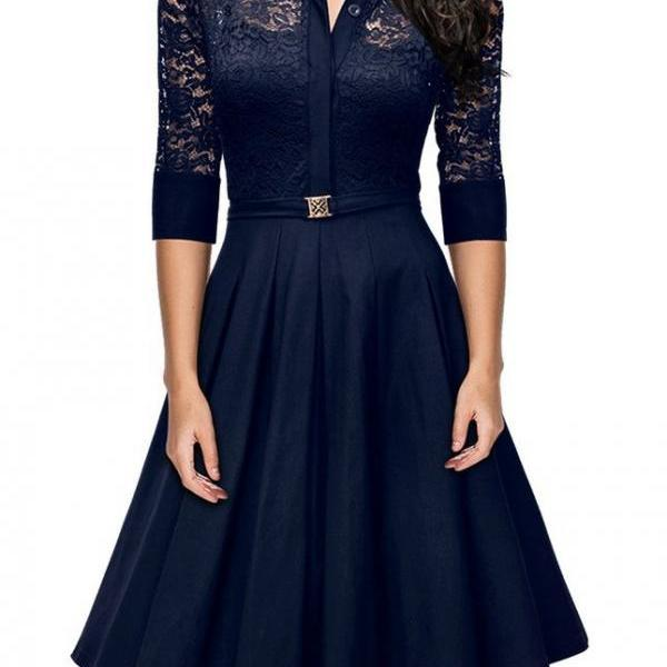 Elegant Lace Career Work Dress Shirt Dress - Navy Blue