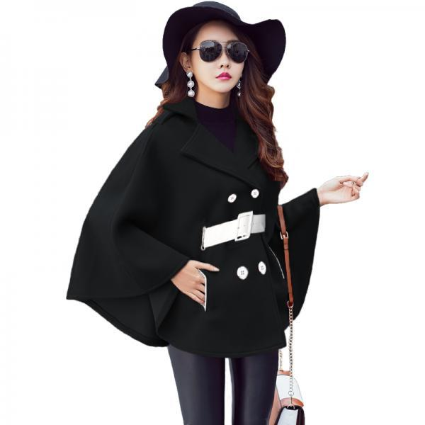 Designer Good Quality Double Breasted Cloak Wool Winter Coats With Belt - Black