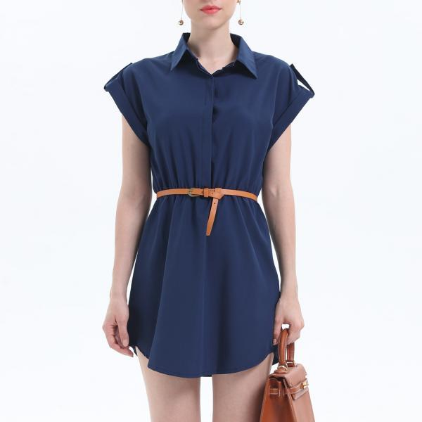 Fashion Turn Down Collar Short Sleeve Dress - Navy Blue