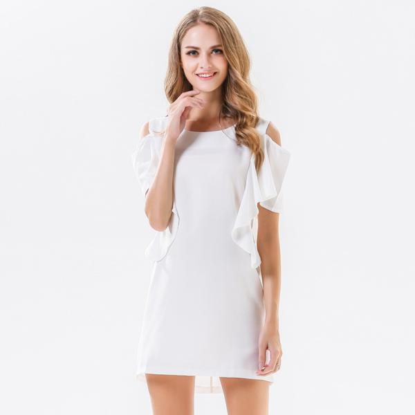 Fashion Cutout Shoulders Round Neck Chiffon Dress - White