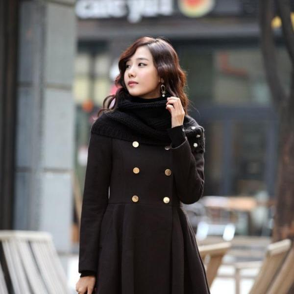 High Quality Double Breasted Wool Winter Coat - Black