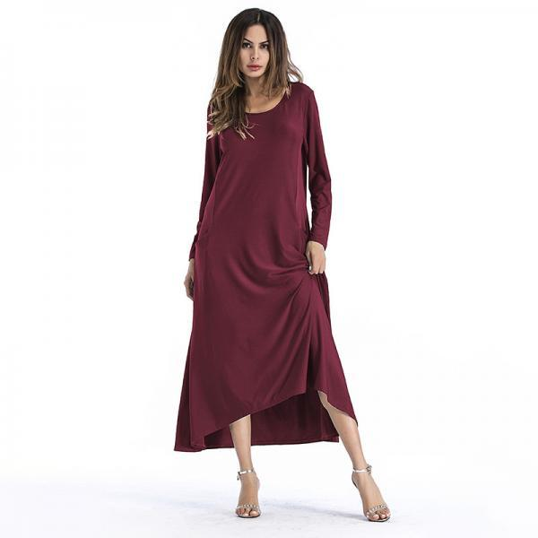 Fashion Solid Color Long Sleeve Maxi Dress - Wine Red