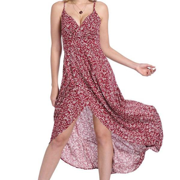 Sleeveless Deep V Neck Floral Printed Maxi Dress - Wine Red