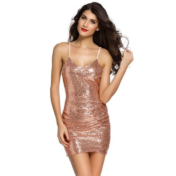 Charming Sequins Sleeveless Sheath Mini Dress - Rose Gold