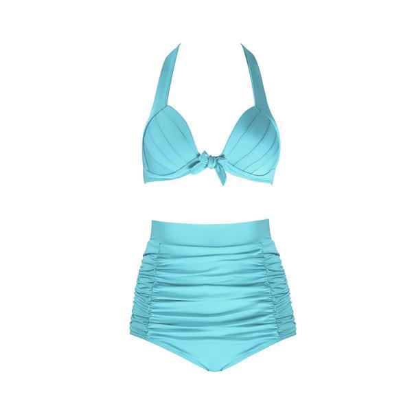 Free Shipping Sexy High Waist Bikini With Good Elasticity - Sky Blue