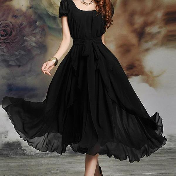 Free Shipping Irregular Hemline Bound Waist Short Sleeve Dress - Black