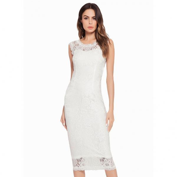 New Fashion Women Midi Dress Round Neck Lace Bodycon Pencil Dress - White