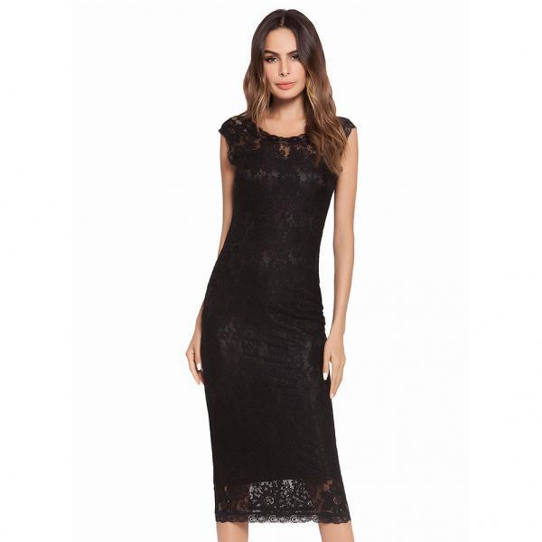 New Fashion Women Midi Dress Round Neck Lace Bodycon Pencil Dress - Black