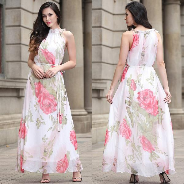 Bohemia Halter Neck Sleeveless Printed Chiffon Long Dress - White