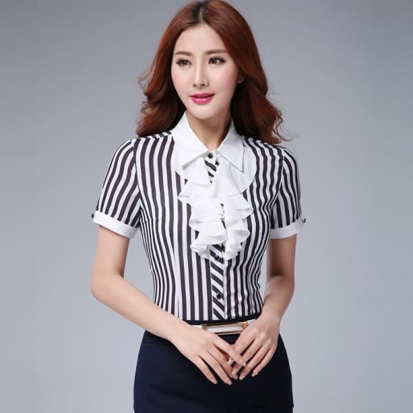 Women Stripe Patchwork Design Short Sleeve Shirt