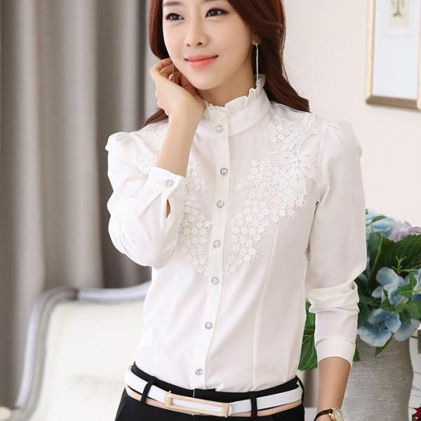 Women work wear silk shirt female casual basic shirt