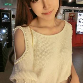 Elegant Round Neck Cut Out Half Sleeve Knitting Wool White Pullovers