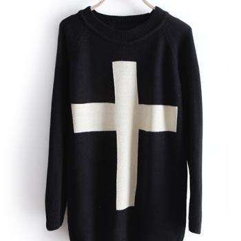 Fashion Cross Pullover Long Sleeve Sweater - Black