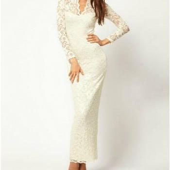 Sexy Lace low-cut V-neck long sleeve dress - White