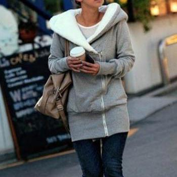 Korean Corduroy Neck Long Sleeve Zipper Cotton Hoodies - Grey