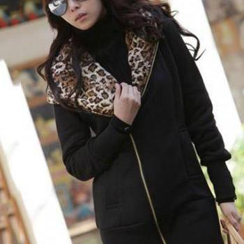 Comfortable Zip Closure Leopard Inside Cotton Hooded Coat - Black