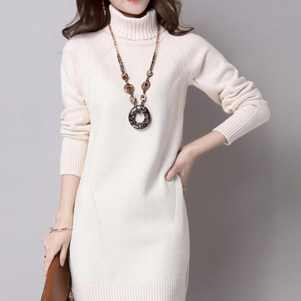 Women Turtleneck Pullover Long Casual Sweaters(5 Colors)