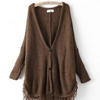 Fashion Tassel Decoration Long Sleeve Cardigans - Dark Coffee