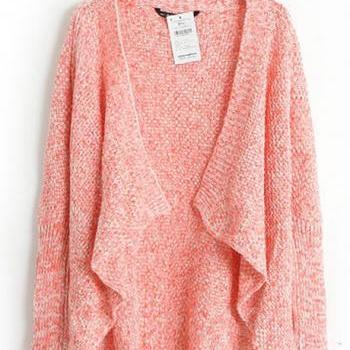 Simple Long Sleeve Knitting Unclosed Cardigans for Lady - Light Red