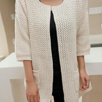 Charming Three Quarter Sleeve Knitting Wool Cardigans - Beige