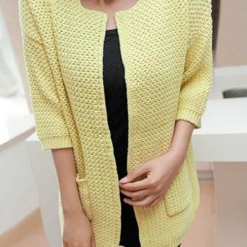 Charming Three Quarter Sleeve Knitting Wool Cardigans - Yellow