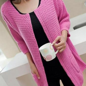 Charming Three Quarter Sleeve Knitting Wool Cardigans - Rose