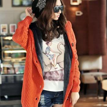 Hooded Collar Long Style Knitting Wool Sweater Coat - Orange