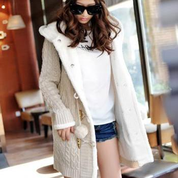 High Qualiy Long Style Warm Sweater Coat with Hat - Beige