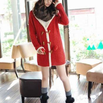 High Qualiy Long Style Warm Beige Sweater Coat with Hat - Red