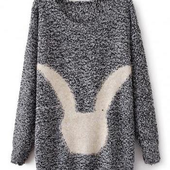 Cute Pullovers Rabbit Design Long Sleeve Sweater - Grey