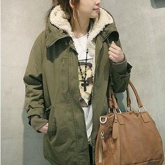 Fashion Long Style Girls Zip Closure Black Thickened Coat - Arm Green