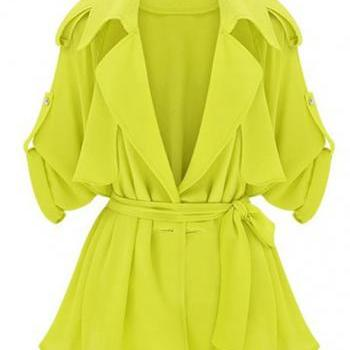 New Arrival Shiny Long Sleeve Trench Coat - Yellow