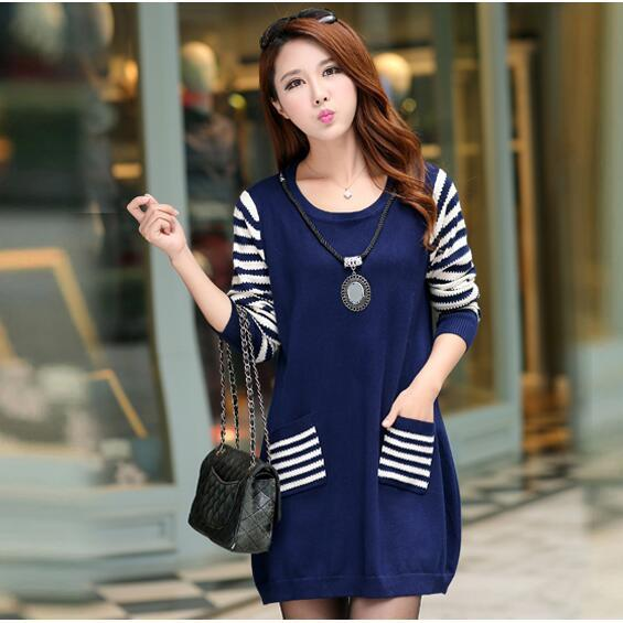 New Round Neck Long Sleeve Loose Sweater For Women - Navy Blue