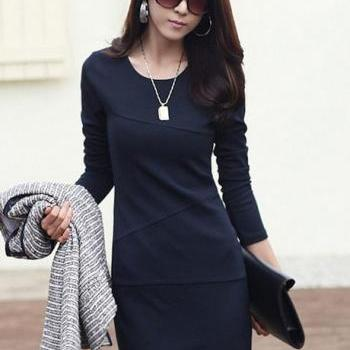 Laconic Long Sleeve Dress for Lady - Navy Blue