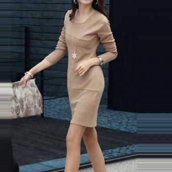 Laconic Long Sleeve Dress for Lady - Khaki