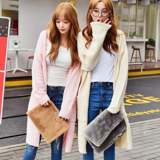 New Casual Long Knit Sweater Cardigan Coat