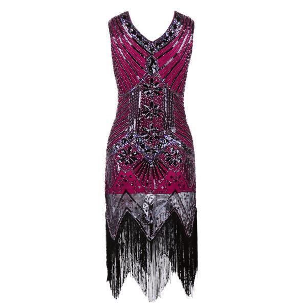 Fashion Sleeveless V Neck Sequin Short Tassels Dress For Party