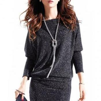 Sparkle Cotton Batwing Sleeve Straight Dress with Round Neck - Dark Grey