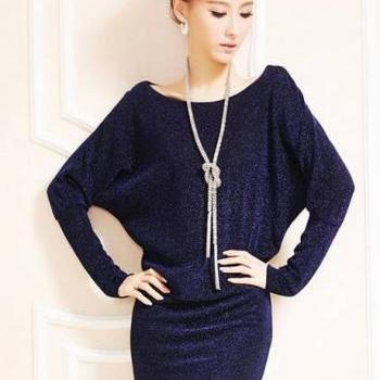 Sparkle Cotton Batwing Sleeve Straight Dress with Round Neck - Dark Blue