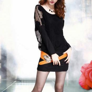 Fashion Two Pieces Wine Batwing Sleeve Dress - Black