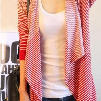 Casual Striped Asymmetrical Long Sleeves Knitting Long Cardigan - Red